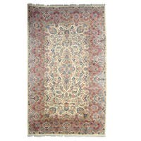 Hand-knotted Wool Ivory Traditional Oriental Kerman Rug (11'6 x 19')