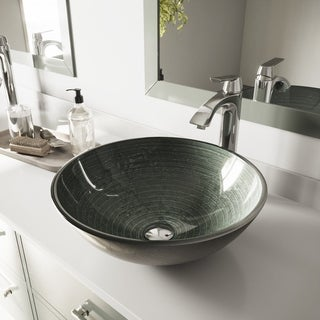 VIGO Simply Silver Glass Vessel Sink and Linus Faucet Set in Chrome