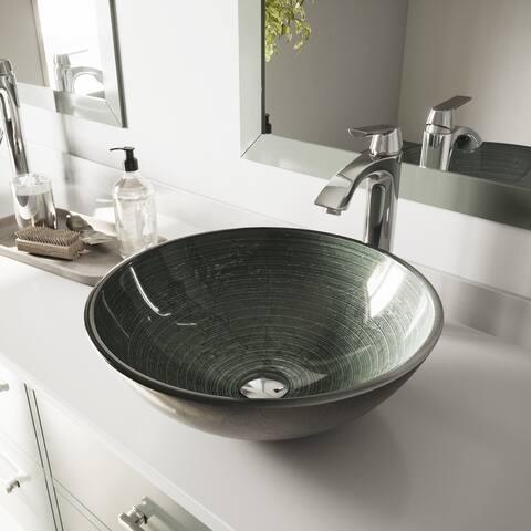VIGO Simply Silver Glass Vessel Sink and Linus Chrome Faucet Set