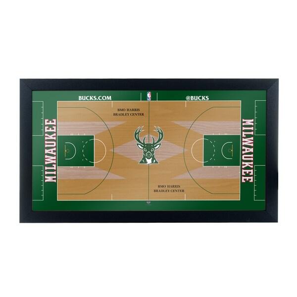 Milwaukee Bucks Official NBA Court Framed Plaque