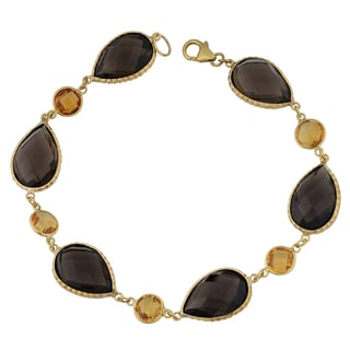 Fremada 14k Yellow Gold with Smoky Quartz and Citrine Briolette Bracelet (8 inches)