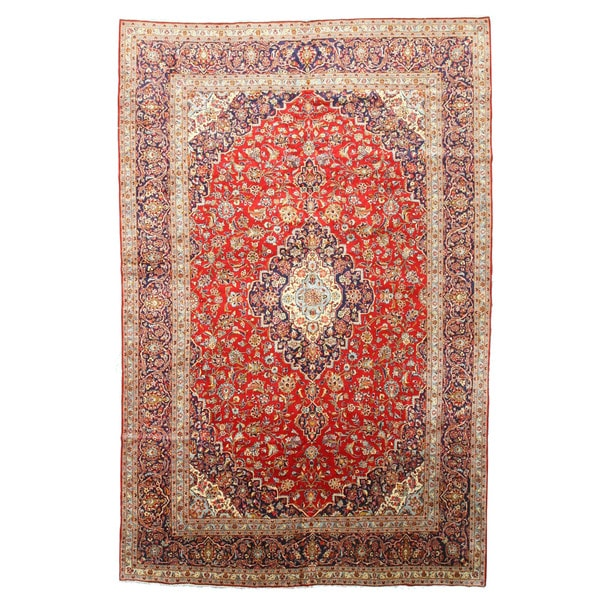 Shop Ecarpetgallery Hand Knotted Persian Kashan Red Wool: Shop Hand-knotted Wool Red Traditional Oriental Medallion