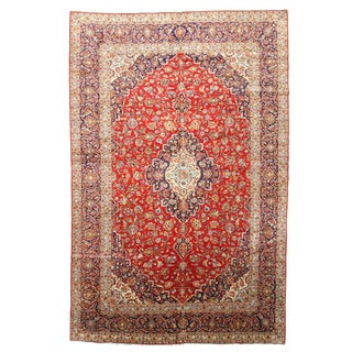 EORC Hand Knotted Wool Red Medallion Kashan Rug (9'11 x 15'4)