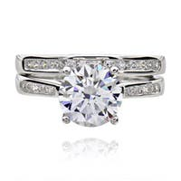 Sterling Silver 2ct TGW Round Cubic Zirconia 2-piece Bridal Wedding Ring Set (China)