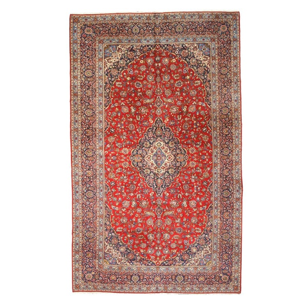 Hand Tufted Traditional Oriental Red Wool Rug With Non: Shop Hand-knotted Wool Red Traditional Oriental Medallion