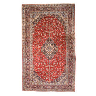 EORC Hand Knotted Wool Red Medallion Kashan Rug (9'11 x 16'10)