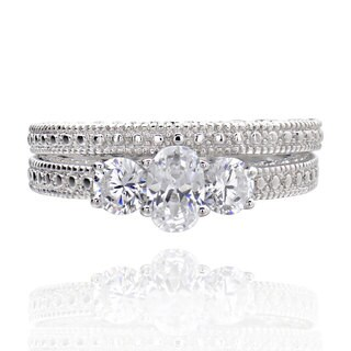 Sterling Silver 0.5Ct tcw Cubic Zirconia 2-piece Bridal Wedding Ring Set (China)