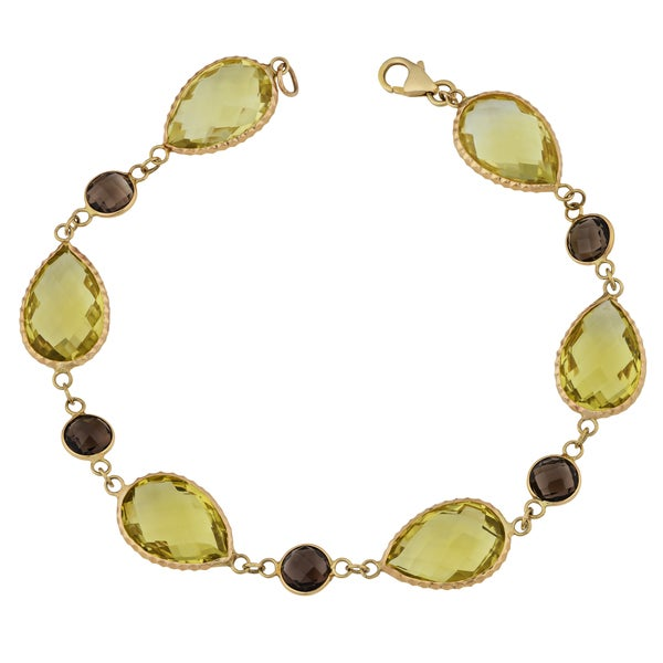 Fremada 14k Yellow Gold Pear-shaped Lemon Quartz and Round Smoky Quartz Bracelet (8 inches)
