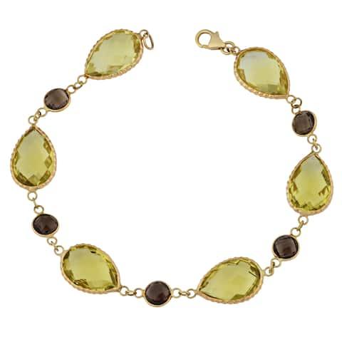 Fremada 14k Yellow Gold Pear-shaped Lemon Quartz and Round Smoky Quartz Bracelet (8 inches)