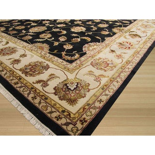 EORC Hand Knotted Wool & Silk Black Jaipur Rug (9' x 12'2)