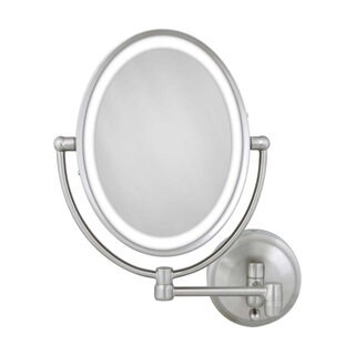 Zadro Cordless Dual LED Lighted Oval Wall Mount Mirror 1X/10X