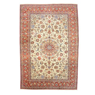 EORC Hand Knotted Wool Ivory Najafabad Rug (10'3 x 15'1)