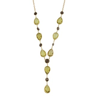 Fremada 14k Yellow Gold Pear-shaped Lemon Quartz and Round Smoky Quartz Lariat Necklace (17 inches)