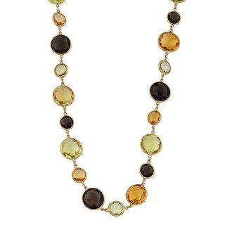 Fremada 14k Yellow Gold Alternate Big and Small Multi Gemstones Necklace (17 inches)
