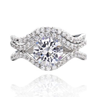 Sterling Silver 1.5Ct Cubic Zirconia 2-piece Bridal Wedding Ring Set (China)