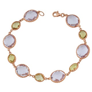 Fremada 14k Rose Gold Alternate Big and Small Oval Amethyst Bracelet (7.5 inches)