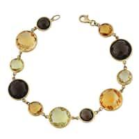 Fremada 14k Yellow Gold Alternate Big and Small Multi Gemstones Bracelet (7.5 inches)