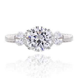 Sterling Silver 2 ct TGW Round 3-stone Cubic Zirconia Bridal Engagement Ring (China)