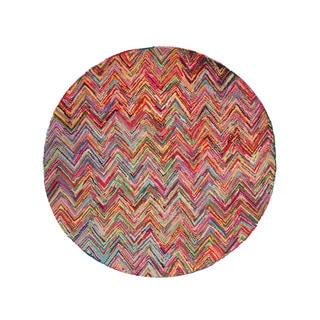 EORC Hand-tufted Cotton Multi Sari Chevron Rug (7'9 Round)