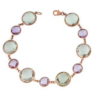 Fremada 14k Rose Gold Alternate Big and Small Round Amethyst Bracelet (7.5 inches)