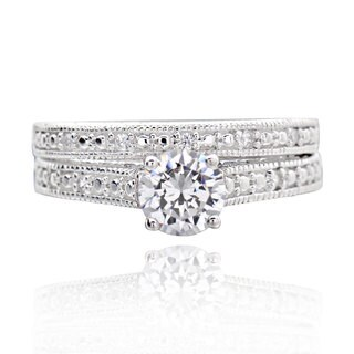 Sterling Silver 0.75Ct Cubic Zirconia 2-piece Bridal Wedding Ring Set (China) (3 options available)