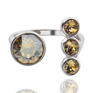 Sterling Silver 3-stone to 1-genuine Crystal Bypass Ring (China)