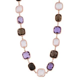 Fremada 14k Rose Gold Alternate Square and Rectangular Multi Gemstones Necklace (17 inches)