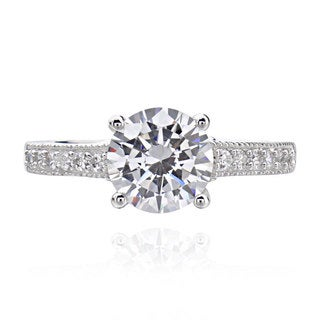 Sterling Silver 2ct TGW Round Cubic Zirconia Bridal Engagement Ring (China)