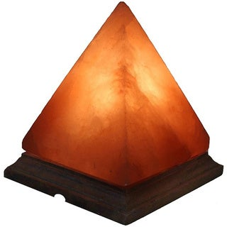 Himalayan Natural Crystal Salt Pyramid Lamp on Wooden Base