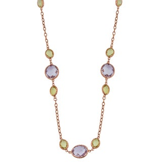 Fremada 14k Rose Gold Oval Amethyst and Green Amethyst Station Necklace (17 inches)