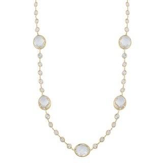 Fremada 14k Yellow Gold White Topaz Station Necklace (18 - 30 inches)