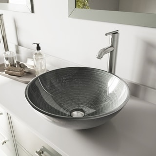 VIGO Simply Silver Glass Vessel Sink and Seville Faucet Set in Brushed Nickel