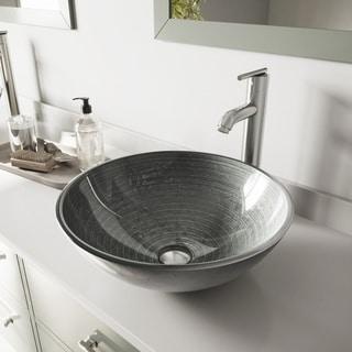 VIGO Simply Silver Glass Vessel Bathroom Sink and Seville Faucet Set