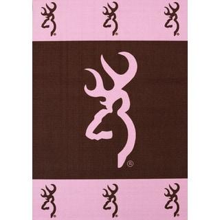 Browning Buckmark Pink Area Rug (5'1 x 6'10)