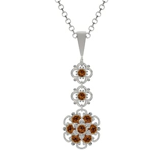 Lucia Costin Sterling Silver Brown Crystal Pendant
