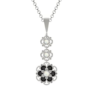 Lucia Costin Sterling Silver White/ Black Crystal Pendant