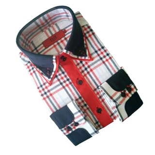 Elie Balleh Men's Milano Italy Checkered Print Slim Fit Shirt