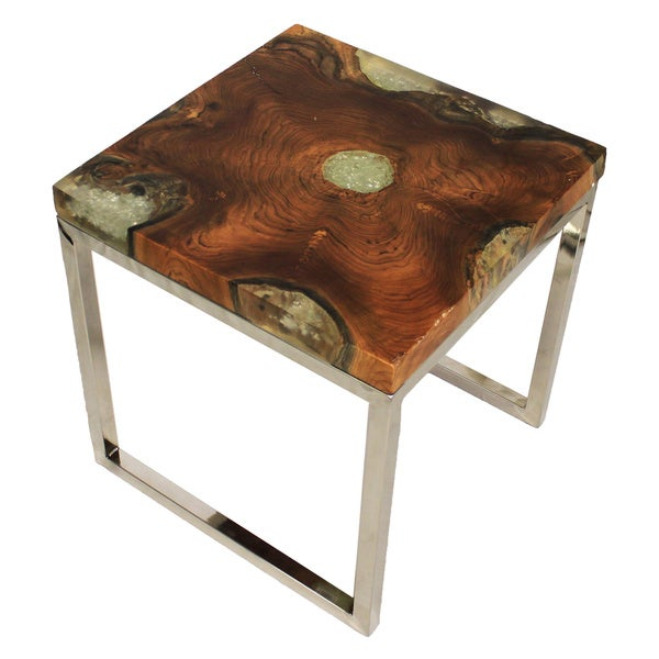 Shop Casa Cortes Wood Stainless Steel Nesting Accent Table