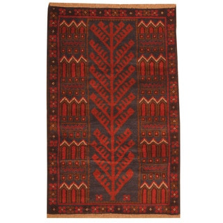 Herat Oriental Afghan Hand-knotted Tribal Balouchi Navy/ Red Wool Rug (2'10 x 4'5)