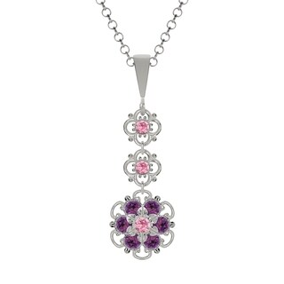 Lucia Costin Sterling Silver Violet/ Light Pink Crystal Pendant