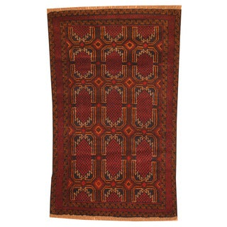 Herat Oriental Afghan Hand-knotted Tribal Balouchi Navy/ Red Wool Rug (2'9 x 4'6)
