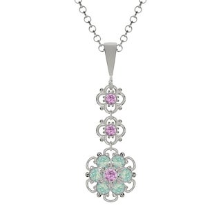 Lucia Costin Sterling Silver Lilac/ Mint Blue Crystal Pendant