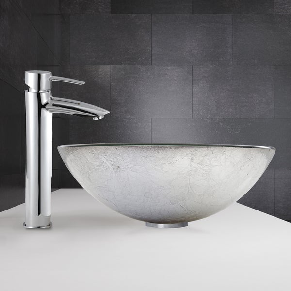 VIGO Simply Silver Glass Vessel Sink and Shadow Faucet Set in Chrome