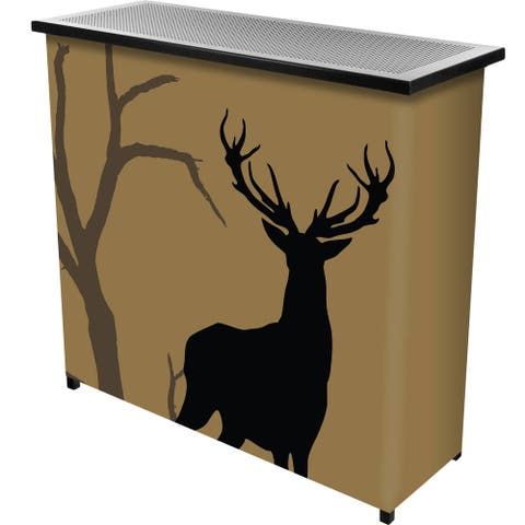 Hunting Deer 2 Shelf Portable Bar w/ Case