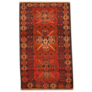 Herat Oriental Afghan Hand-knotted Tribal Balouchi Wool Rug (2'8 x 4'4)