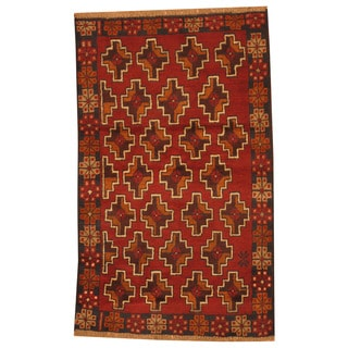 Herat Oriental Afghan Hand-knotted Tribal Balouchi Wool Rug (2'7 x 4'2)
