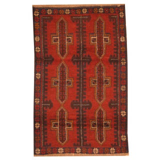 Herat Oriental Afghan Hand-knotted Tribal Balouchi Red/ Navy Wool Rug (2'9 x 4'4)