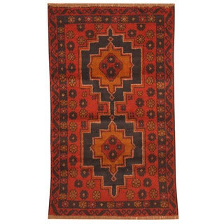 Herat Oriental Afghan Hand-knotted Tribal Balouchi Red/ Navy Wool Rug (2'8 x 4'5)