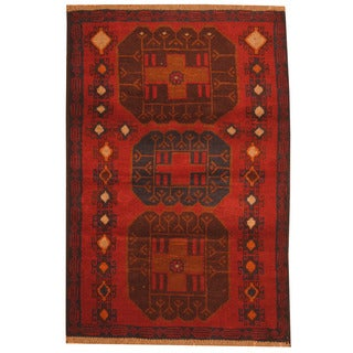 Herat Oriental Afghan Hand-knotted Tribal Balouchi Red/ Navy Wool Rug (3' x 4'4)