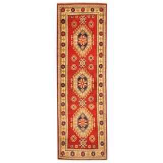 Herat Oriental Afghan Hand-knotted Tribal Kazak Red/ Ivory Wool Runner (2' x 6'4)
